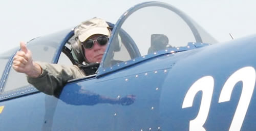 Captain Terry Lewis in the warbird CJ6A (also known as a Yak)